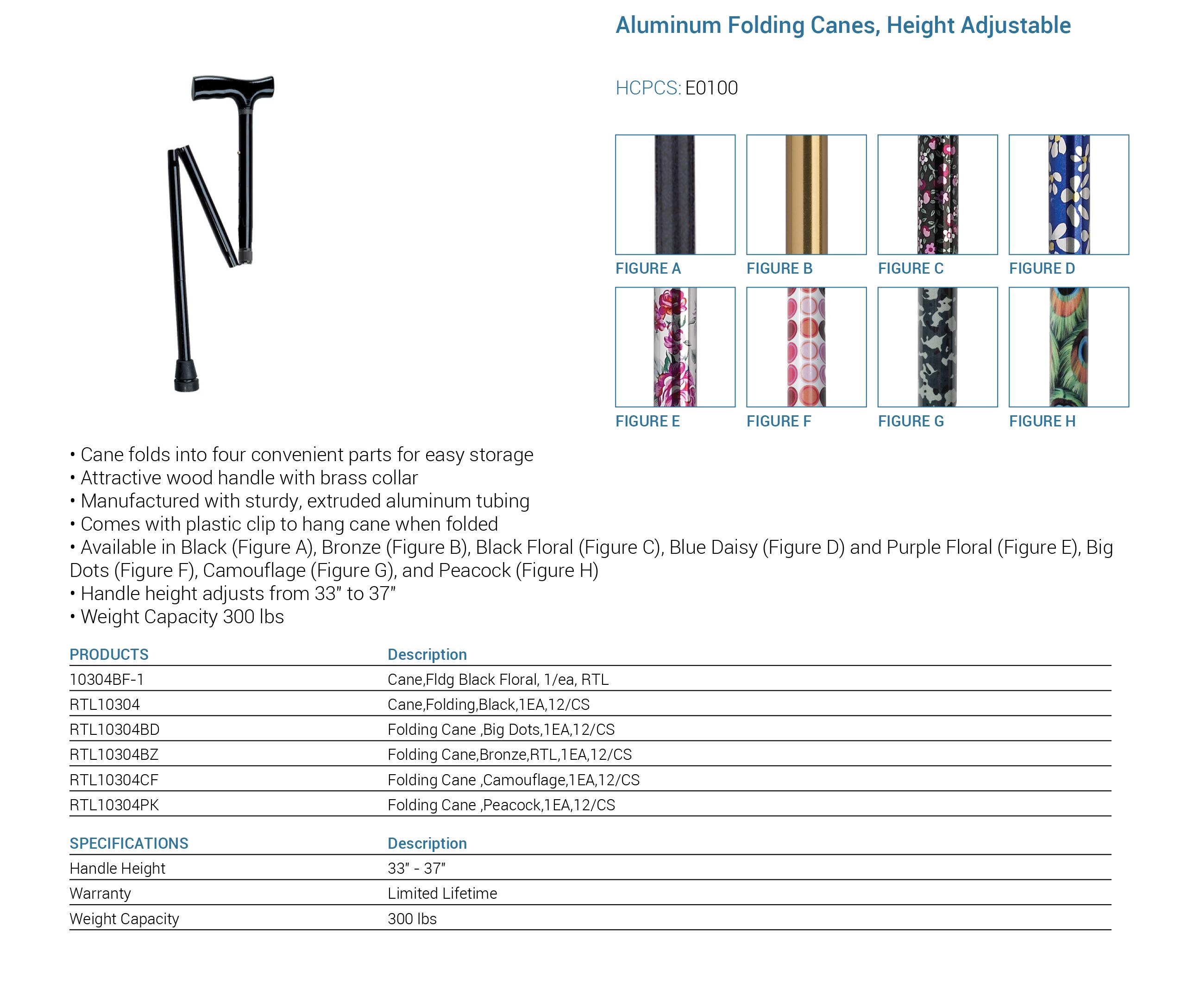 Aluminum Folding Cane Specs